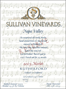 Wine: Sullivan Vineyards 2003 Reserve Merlot, Estate (Rutherford)