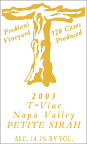 Wine:T-Vine Cellars 2003 Petite Sirah, Frediani Vineyard (Napa Valley)