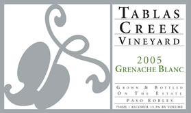 Tablas Creek Vineyard 2005 Grenache Blanc, Estate (Paso Robles)