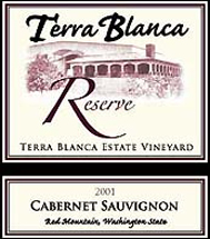 Wine:Terra Blanca Vintners 2001 Cabernet Sauvignon Reserve, Estate Vineyard (Red Mountain)