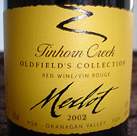 Tinhorn Creek Vineyards 2002 Oldfield's Collection Merlot  (Okanagan Valley)