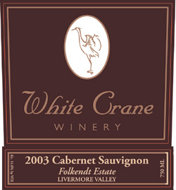 Wine:White Crane Winery 2003 Cabernet Sauvignon, Folkendt Estate (Livermore Valley)