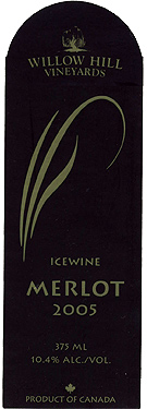 Wine:Willow Hill Vineyards 2005 Merlot Icewine  (Okanagan Valley)