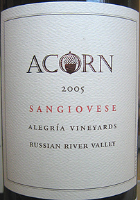 Acorn Winery 2005 Sangiovese, Alegria Vineyards (Russian River Valley)