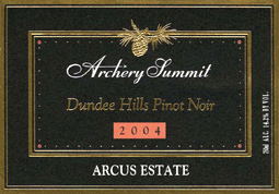 Wine:Archery Summit 2004 Pinot Noir, Arcus Estate (Dundee Hills)