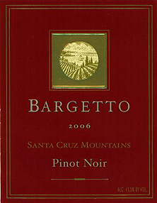 Bargetto Winery 2006 Pinot Noir  (Santa Cruz Mountains)