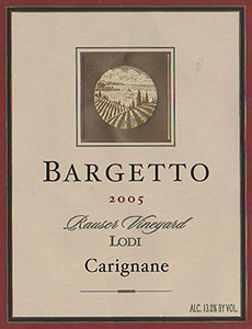 Bargetto Winery 2005 Carignane, Rauser Vineyard (Lodi)