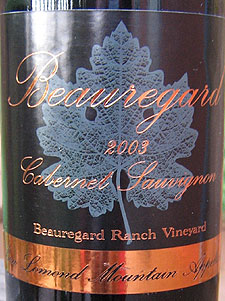 Wine:Beauregard Vineyards 2003 Cabernet Sauvignon  (Ben Lomond Mountain)