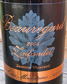 Wine:Beauregard Vineyards 2004 Zinfandel, Zayante Vineyard (Santa Cruz Mountains)