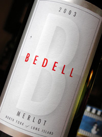 Wine:Bedell Cellars 2003 Merlot  (North Fork of Long Island)