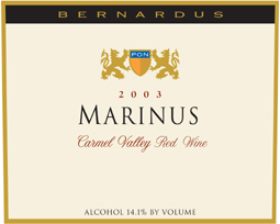Bernardus Vineyards 2003 Marinus  (Carmel Valley)