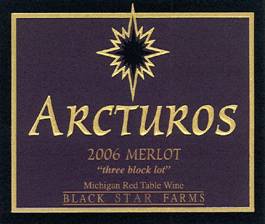 "Black Star Farms 2006 Arcturos Merlot ""three block lot""  (Leelanau Peninsula)"