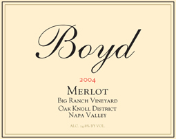 Boyd Family Vineyard 2004 Merlot, Big Ranch Vineyard (Oak Knoll District of Napa Valley)