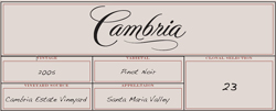 Cambria Winery & Vineyard 2005 Pinot Noir Clone 23  (Santa Maria Valley)