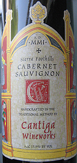 Cantiga Wineworks 2001 Cabernet Sauvignon  (Sierra Foothills)