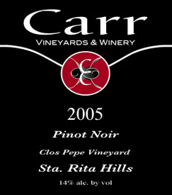 Wine:Carr Vineyards & Winery 2005 Pinot Noir, Clos Pepe Vineyard (Sta. Rita Hills)