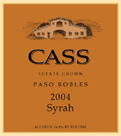 Cass Vineyard & Winery 2004 Syrah, Estate Grown (Paso Robles)