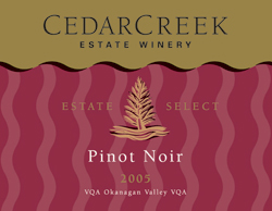 Wine:CedarCreek Estate Winery 2005 Estate Select Pinot Noir  (Okanagan Valley)