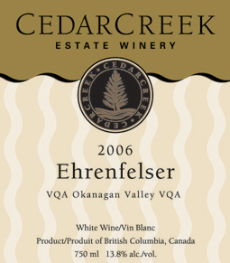 Wine:CedarCreek Estate Winery 2006 Ehrenfelser  (Okanagan Valley)