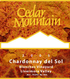 Cedar Mountain Winery 2005 Chardonnay del Sol  (Livermore Valley)