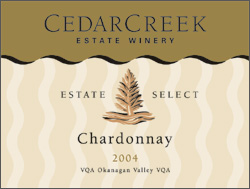 CedarCreek Estate Winery 2004 Estate Select Chardonnay  (Okanagan Valley)