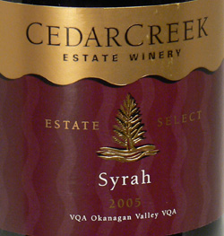 CedarCreek Estate Winery 2005 Estate Select Syrah  (Okanagan Valley)