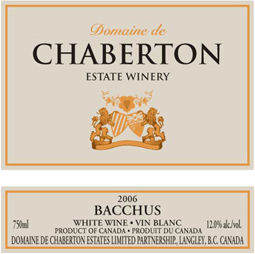 Domaine de Chaberton Estate Winery 2006 Bacchus VQA  (Fraser Valley)