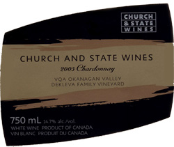 Wine: Church & State Wines 2005 Chardonnay, Dekleva Family Vineyard (Okanagan Valley)