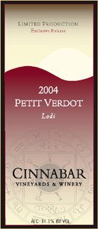 Cinnabar Vineyard and Winery 2004 Petite Verdot, Lewis Vineyard (Lodi)