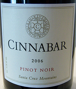 Cinnabar Vineyard and Winery 2006 Pinot Noir, Lester Family Estate (Santa Cruz Mountains)