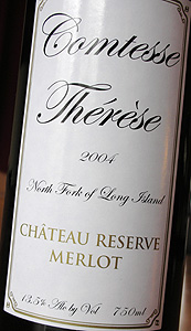 Wine:Comtesse Thérèse 2004 Chateau Reserve Merlot  (North Fork of Long Island)