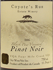 wine Coyote's Run Estate Winery 2006 Pinot Noir , Black Paw Vineyard  (Niagara Peninsula)