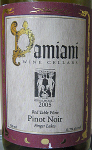 Wine:Damiani Wine Cellars 2005 Pinot Noir  (Finger Lakes)