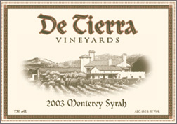 De Tierra Vineyards 2003 Syrah
