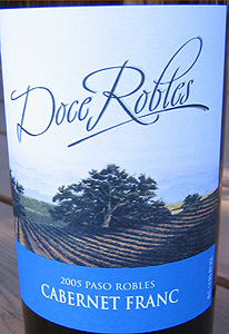 Doce Robles Winery & Vineyard 2005 Cabernet Franc  (Paso Robles)