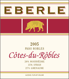 Wine: Eberle Winery 2005 Côtes-du-Rôbles  (Paso Robles)