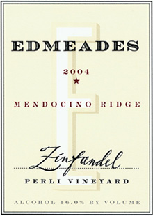 Wine:Edmeades Estate Winery 2004 Zinfandel, Perli Vineyard (Mendocino Ridge)