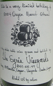 Eyrie Vineyards 2004 Muscat Ottonel, Estate (Willamette Valley)