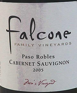 Wine:Falcone Family Vineyards 2005 Cabernet Sauvignon, Mia's Vineyard (Paso Robles)