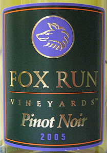 Wine:Fox Run Vineyards 2005 Pinot Noir  (Finger Lakes)