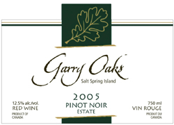 Wine:Garry Oaks Winery 2005 Pinot Noir, Estate (Salt Spring Island)