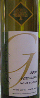 Wine:Gaspereau Vineyards 2006 Riesling  (Nova Scotia)