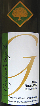 Wine:Gaspereau Vineyards 2007 Riesling  (Nova Scotia)