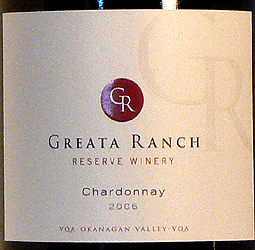 CedarCreek Estate Winery 2006 Reserve Chardonnay, Greata Ranch (Okanagan Valley)