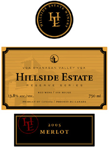 Hillside Estate Winery 2004 Reserve Merlot  (Okanagan Valley)