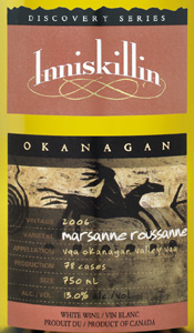 Inniskillin Okanagan Vineyards Winery 2006 Discovery Series Marsanne Roussanne, Dark Horse Vineyard  (Okanagan Valley)