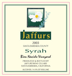 Wine:Jaffurs Wine Cellars 2003 Syrah, Bien Nacido Vineyard - Z(b) Block (Santa Maria Valley)