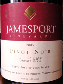 Jamesport Vineyards 2005 Pinot Noir, Sarah's Hill (North Fork of Long Island)