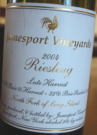 Wine:Jamesport Vineyards 2004 Riesling Late Harvest, Estate (North Fork of Long Island)