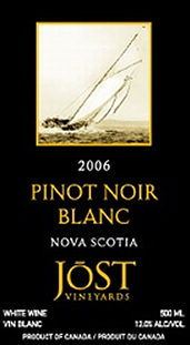 Jost Vineyards 2006 Pinot Noir Blanc  (Nova Scotia)